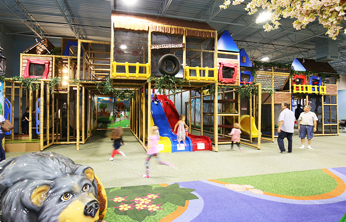 Children Playing on Tree House Themed Playground Mountain Play Lodge NC