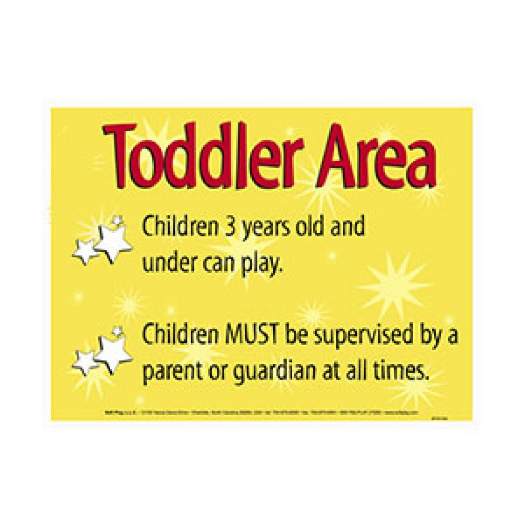 Toddler Area Sign for Playground Saftey