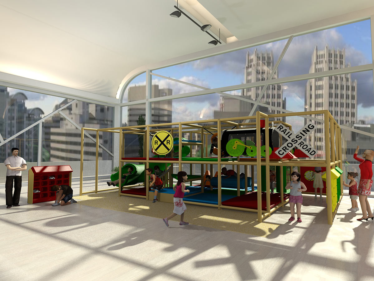 Wide View of Train Station Indoor Playground