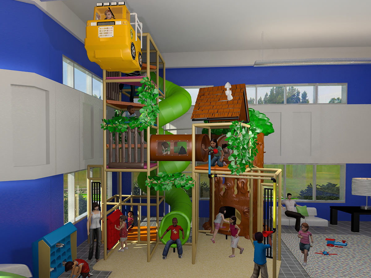Two Section Playground with Treehouse Theme and Spiral Slide