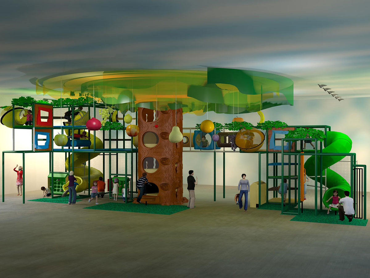 Angled View of Large Fruit Themed Indoor Playground