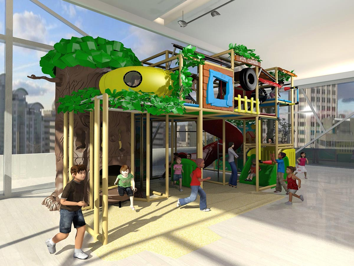 Angled View of Wide Kid's Clubhouse Themed Playground Design