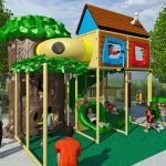 Medium Sized Treehouse Themed Playground