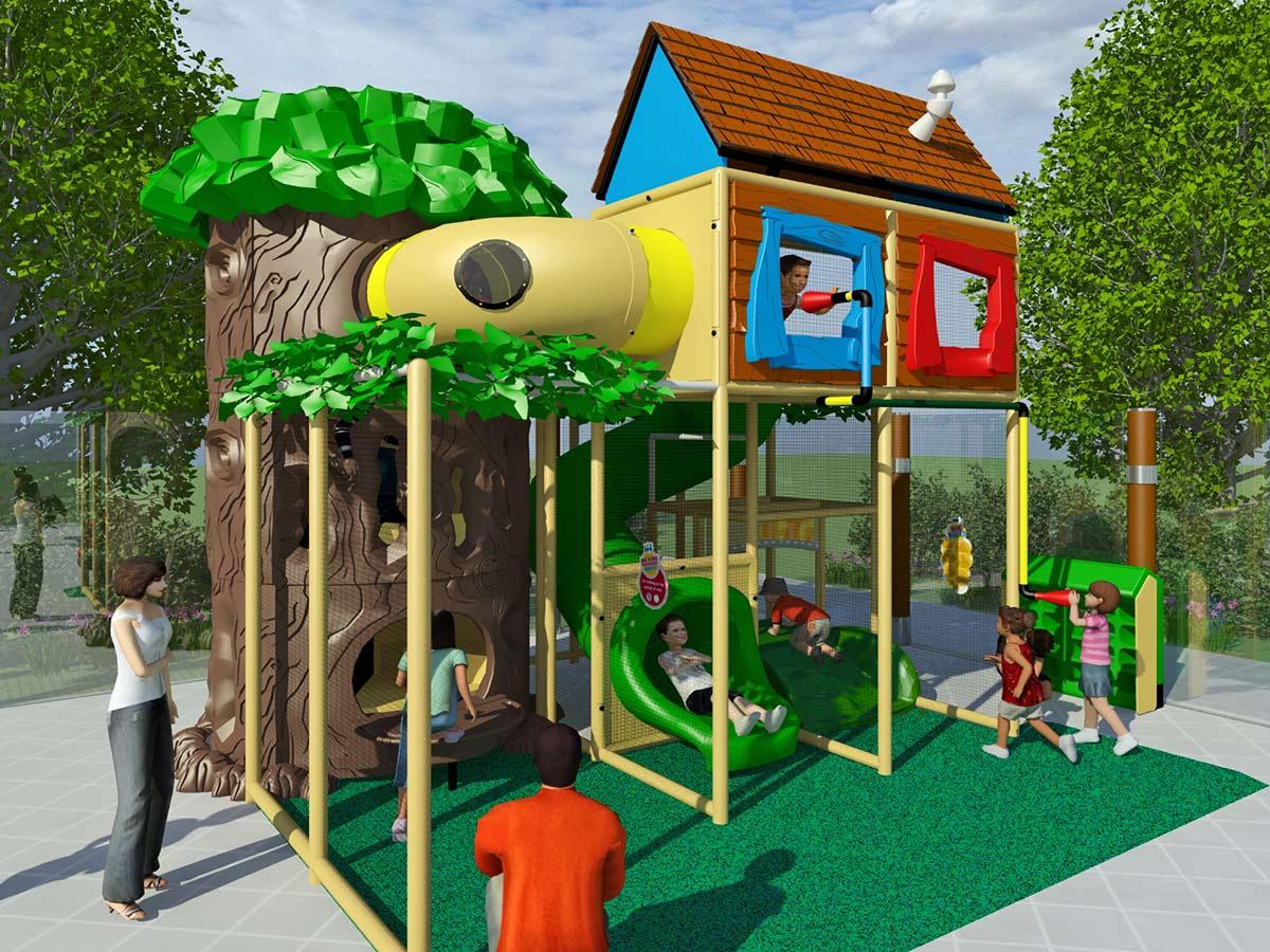 Medium Sized Treehouse Themed Playground