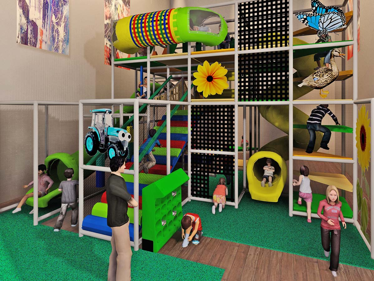 Farm Themed Playground with Netting and Climbing Obstacles
