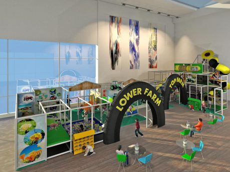 Large Farm Themed Playground with Lower Farm and Top Farm Sections