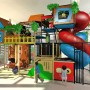 Large Treehouse Themed Playground with Tree Climbing Tower and Bridge with Two Spiral Slides