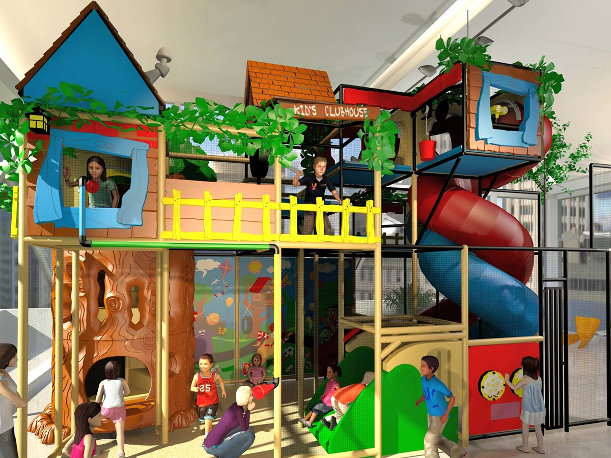 Close View of Large Kid's Clubhouse Themed Playground
