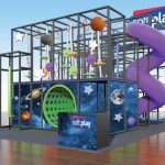 Space Playground Set with Saturn Mars and Earth on a Galaxy Background