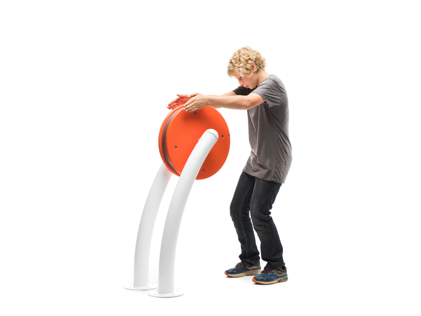 Child playing with interactive play element