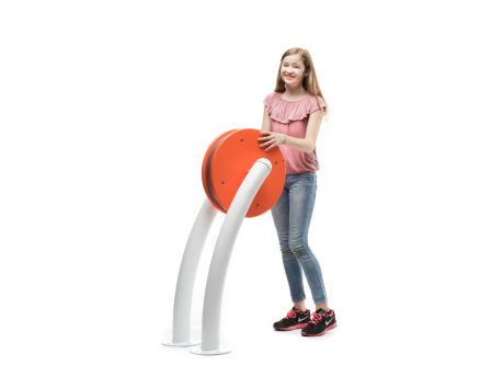 Girl playing with interactive play element