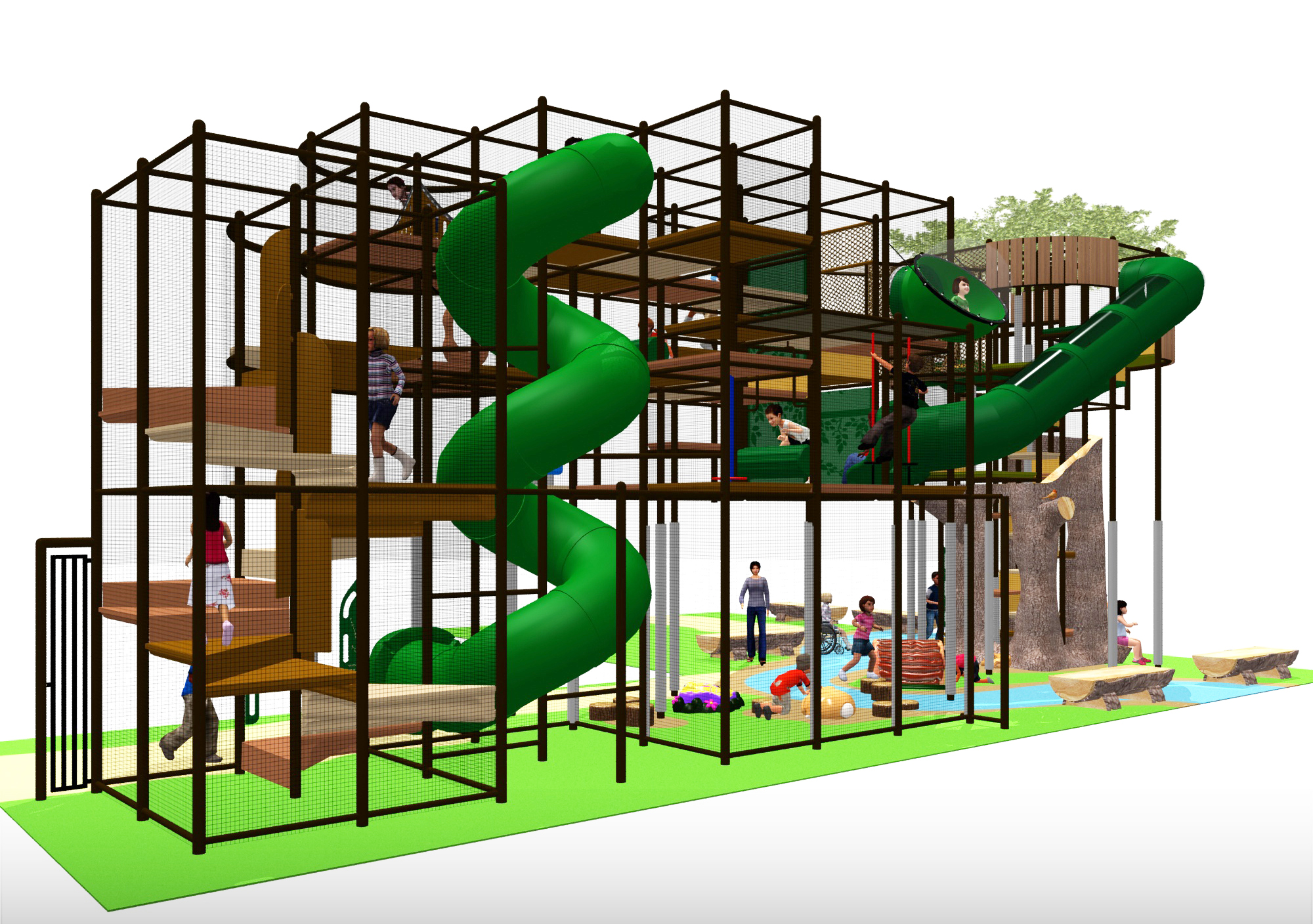 Large outdoor play area with slides