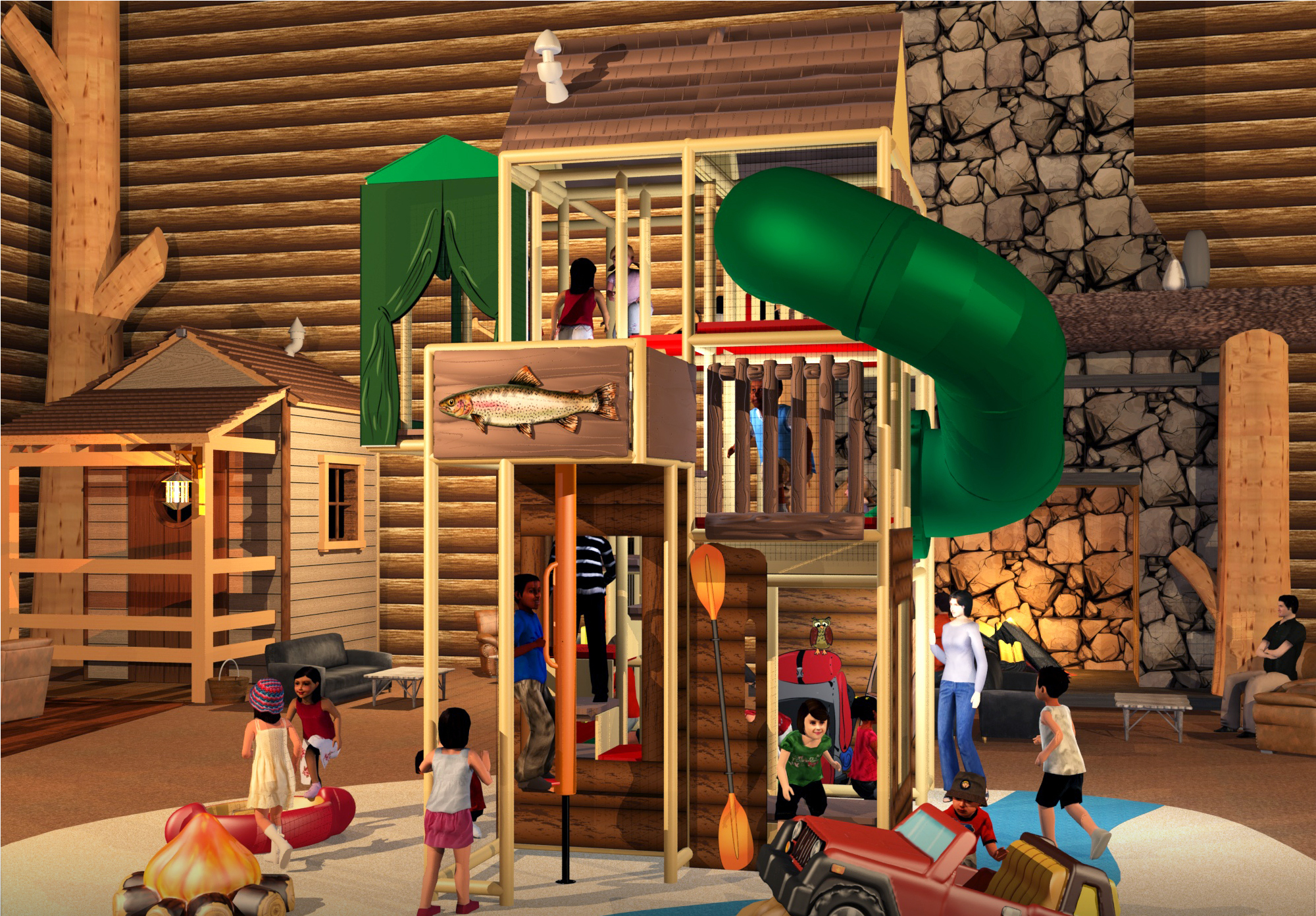 Wood lodge play area for kids