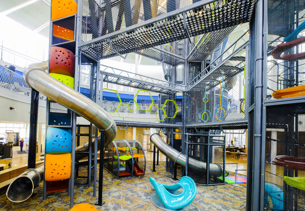 Spiral slides, net skyways and play equipment on the Adventure Course